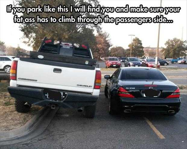 bad drivers meet in parking lot