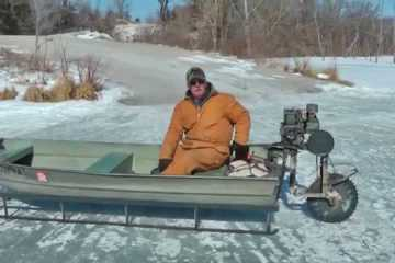 Saw Blade Powered John Boat Ice Sled Thing Featured