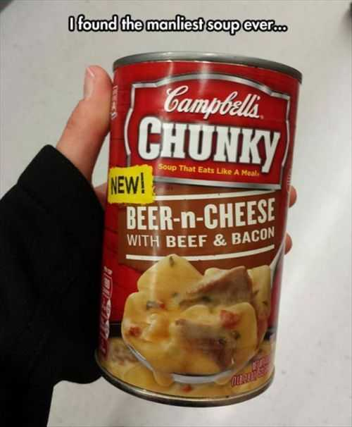 manliest soup ever. campbells chunky beer n cheese with beef and bacon