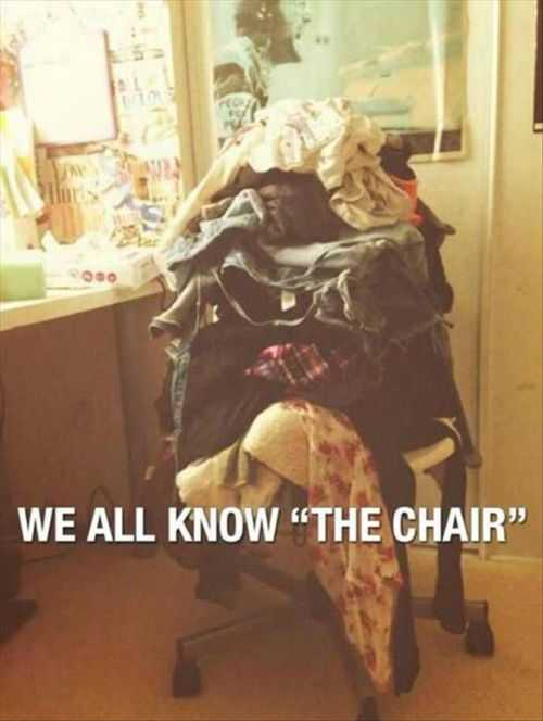 we all have that one chair, chair for all the dirty clothes
