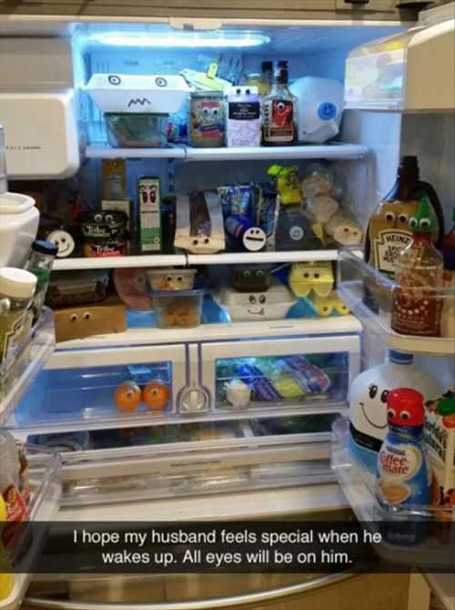 googly eyes on everything in the fridge