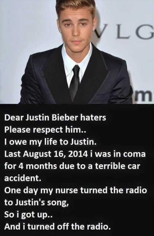 justin bieber woke me up from a coma