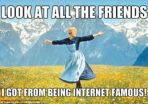 look at all the friends i got from being internet famous. funny sound of music meme