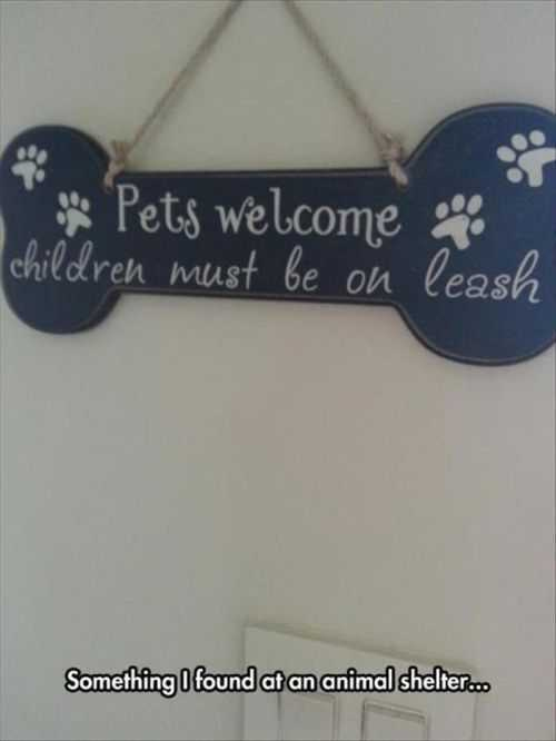 pets welcome children must be on a leash funny sign