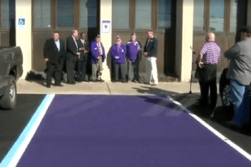 Town In Ohio Creates Purple Parking Spaces For Wounded Vets featured