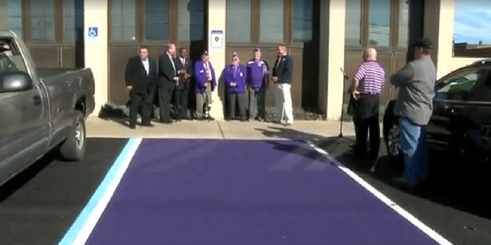 Town In Ohio Creates Purple Parking Spaces For Wounded Vets pics