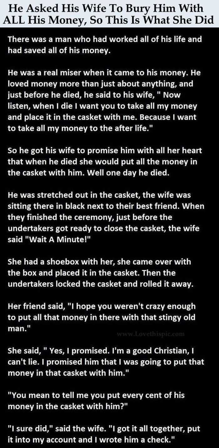 A Funny Story About A Good Christian Wife Keeping Her Promise To Her Dead Husband