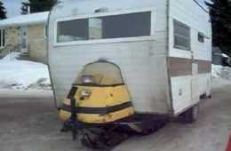 Crazy Snowmobile Powered Ice Fishing Camper Thing video featured