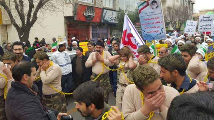Iran Mocking United States Sailors In A Parade pictures 002