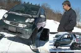 This Canadian Turned A Smart Car Into A Snowmobile featured