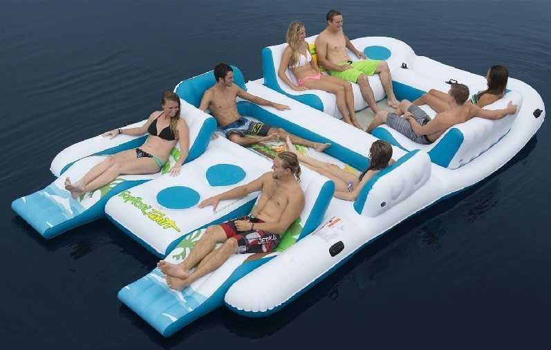 Tropical Tahiti 8 Person Giant Floating Island Raft pictures