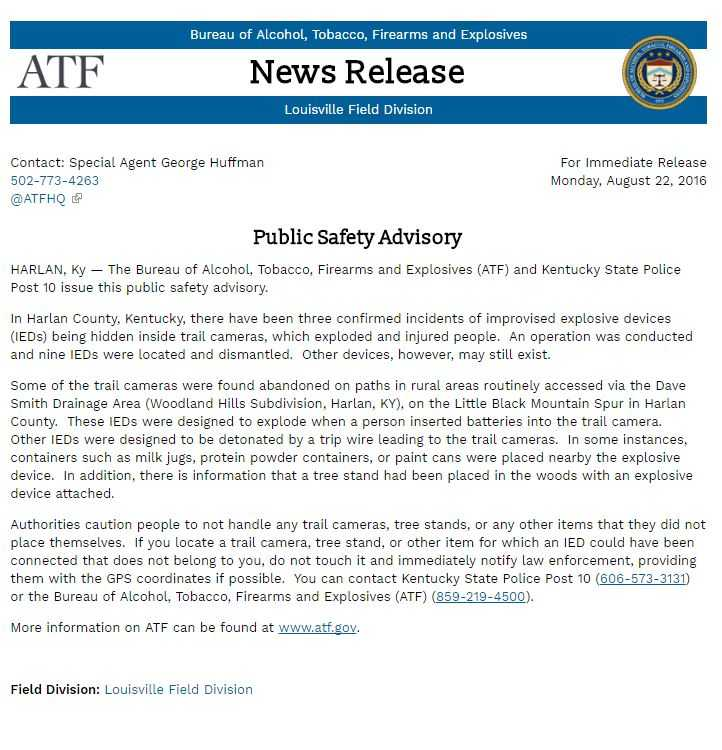 Someone Put A Bunch Of IEDs In Trail Cameras - ATF Has Issued A Warning statement