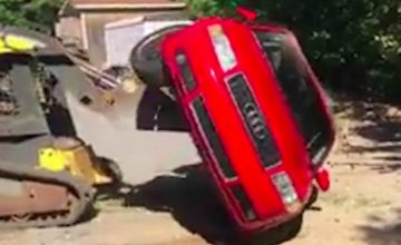 This Dad Caught His Daughter With A Dude In The Car - So He Destroys The Audi A4 With His Little Dozer featured