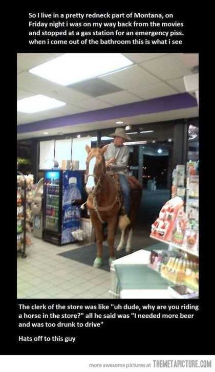 guy on a horse in the gas station