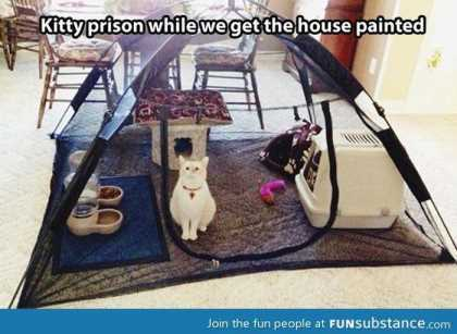 use a tent for a cat prison