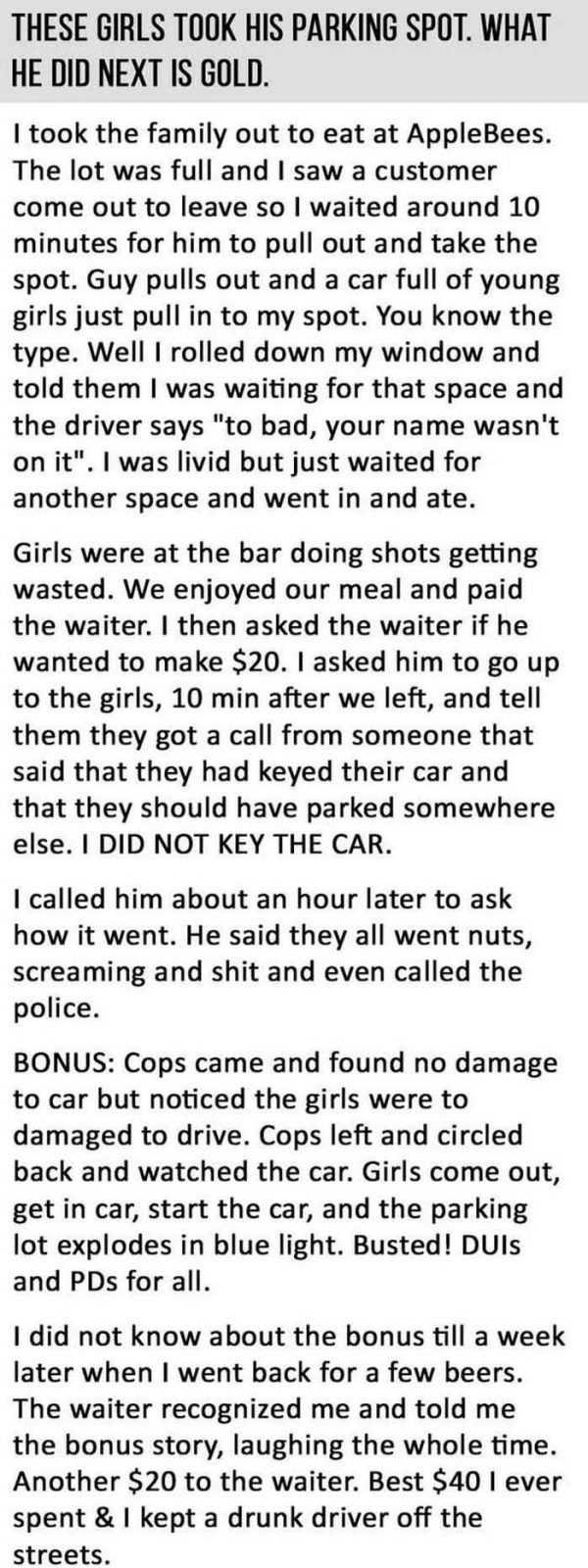 Short Story Hilarious One About Parking Etiquette