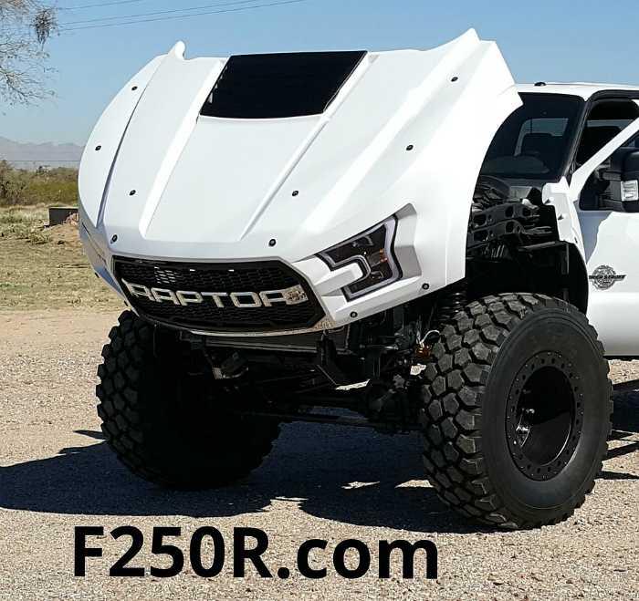 MegaRaptor 46 Inch Tires f250r hood