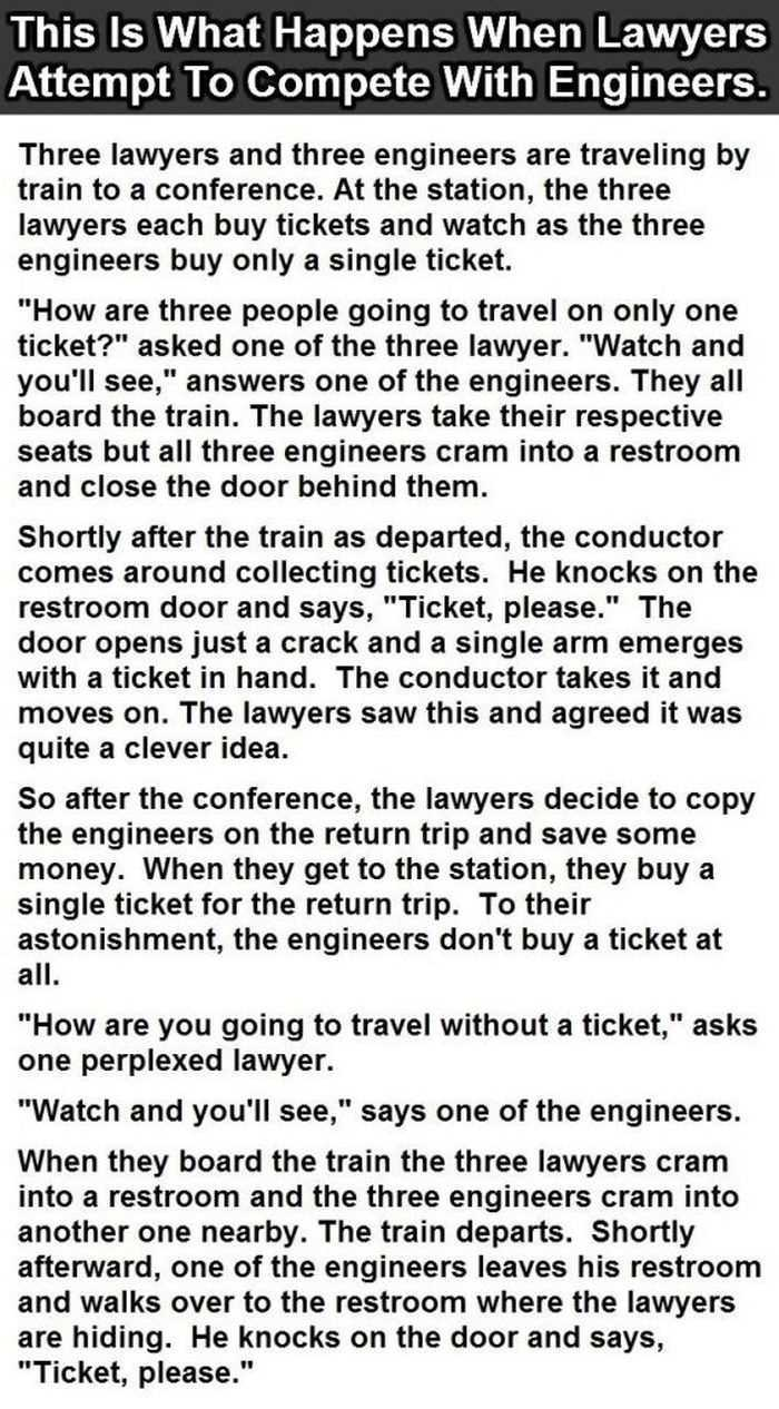 Hilarious Short Stories - this is one about 3 engineers and 3 lawyers on a train ride