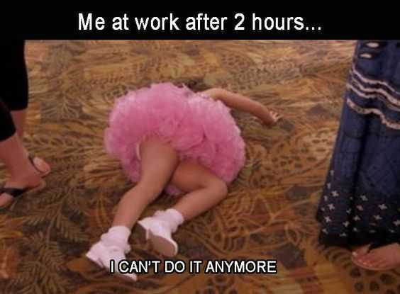 little girl in pink dress collapsed on floor with caption me at work after 2 hours