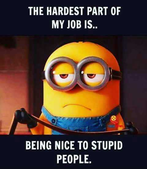 minion with caption the hardest part of my job is being nice to stupid people