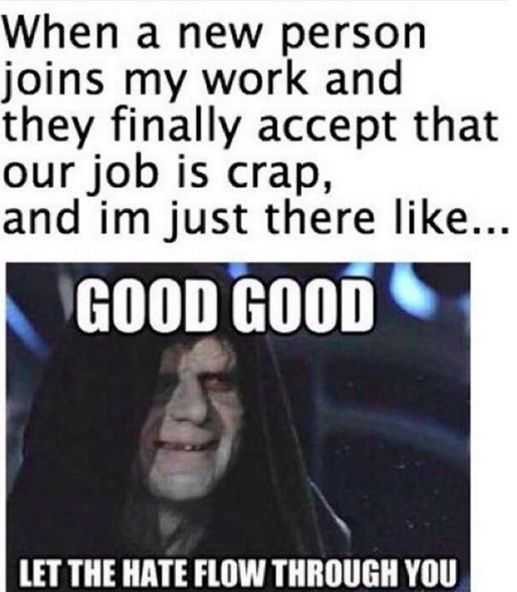 meme about a new person at work finally accept that job is crap with sith lord saying good good let the hate flow through you