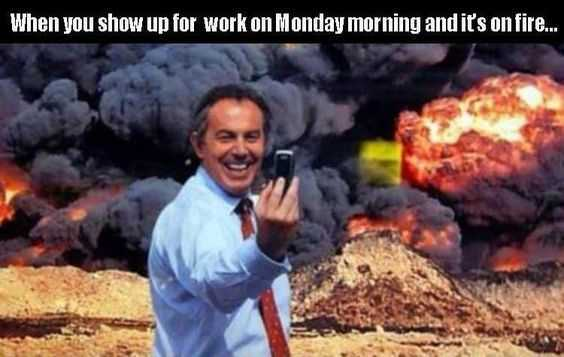 meme showing tony blair taking selfie with explosions in background