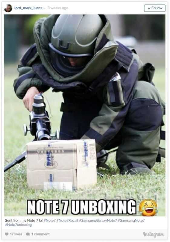 Smasung Note 7 funny meme