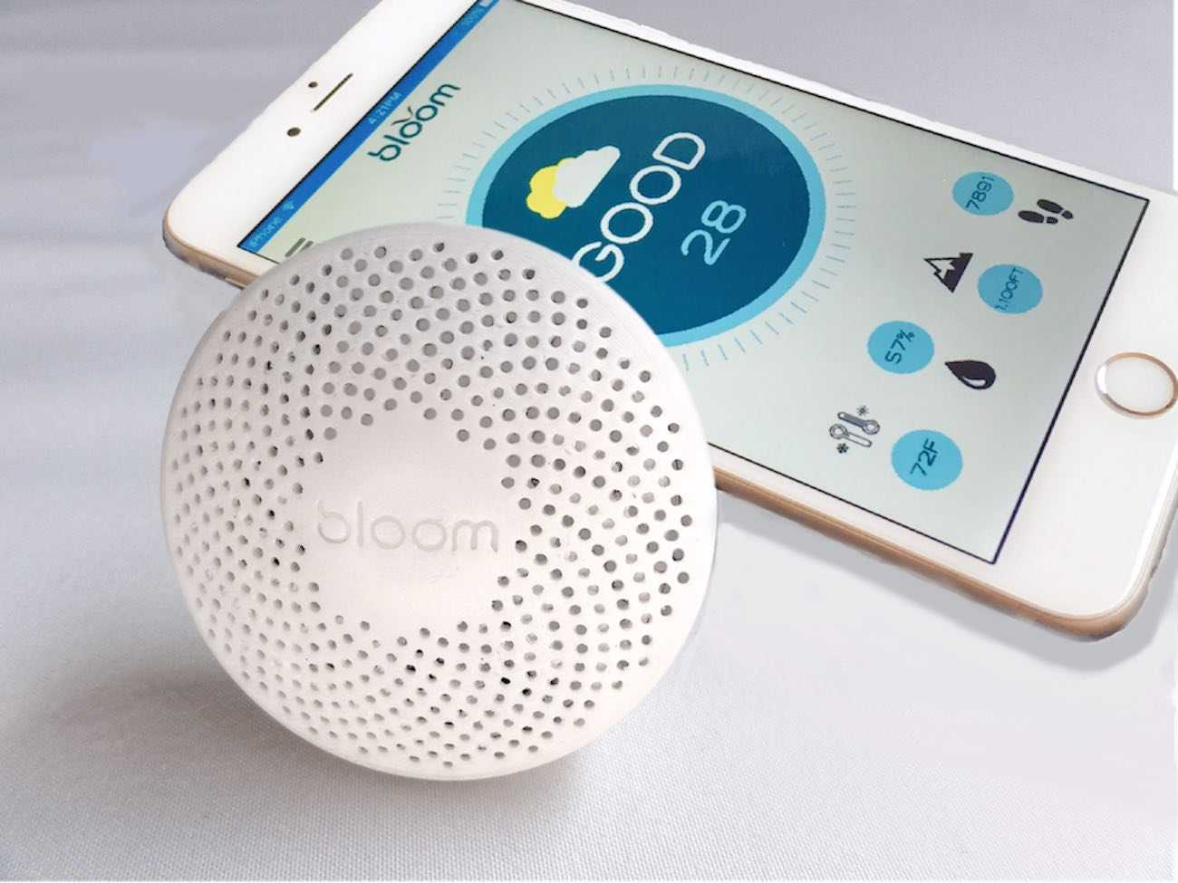 Bloom Portable Air Quality Monitor Lying Side by Side with a Smartphone