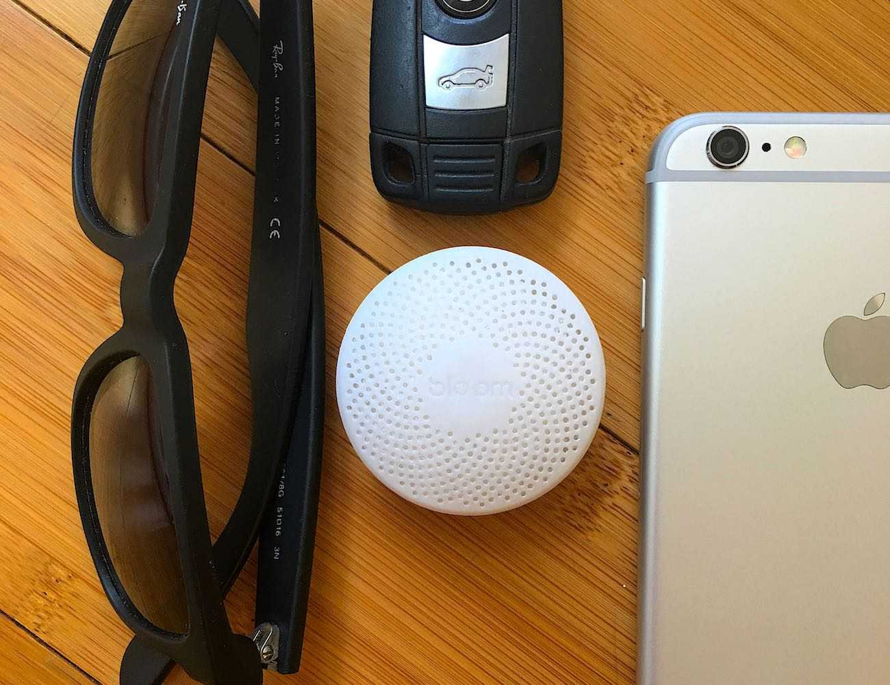 Bloom Portable Air Quality Monitor Lying on a Desk