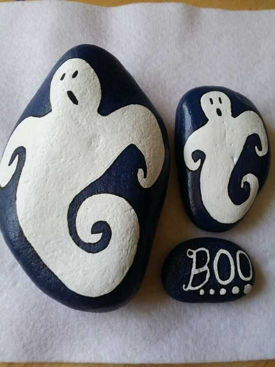 Halloween Rock Painting Ideas - Ghosts And Boo