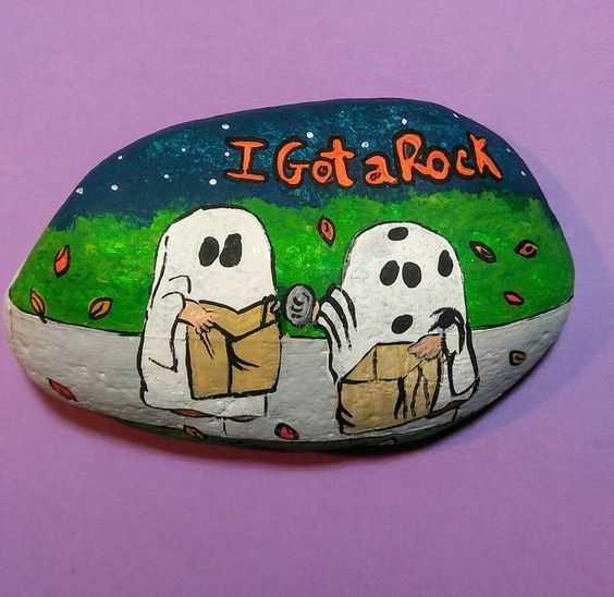 Halloween Painted Rocks - Two Ghosts Trick Or Treating And Got A Rock