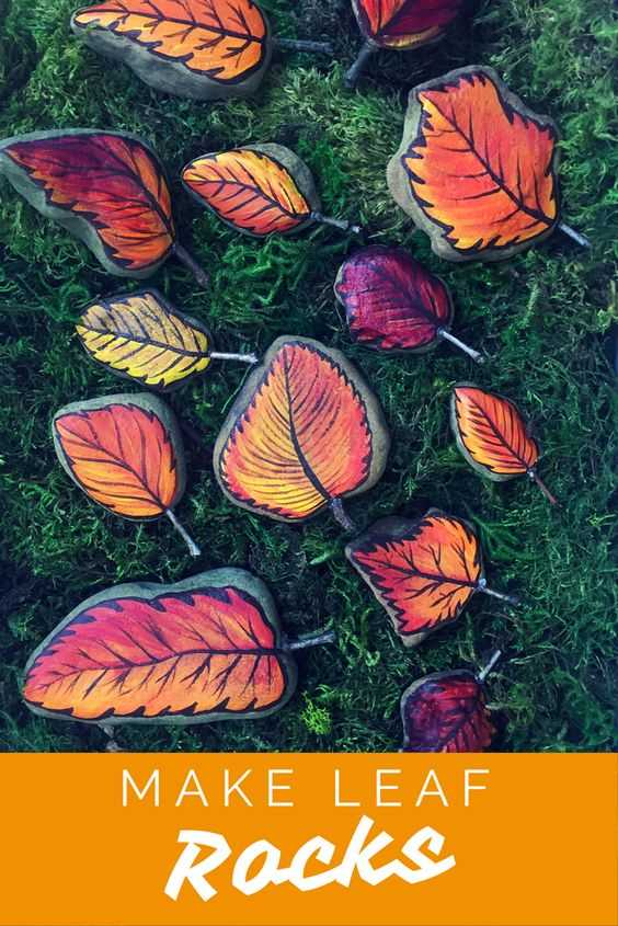 Fall Rock Painting Ideas - Autumn Leaves