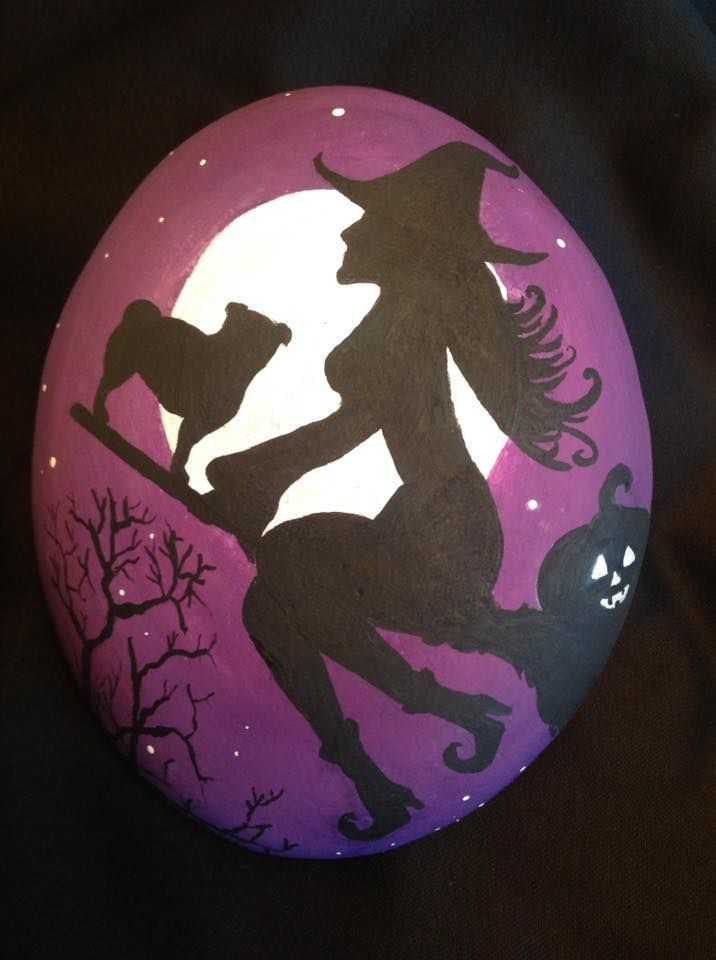 Halloween Rock Painting - Witch On A Broom Stick