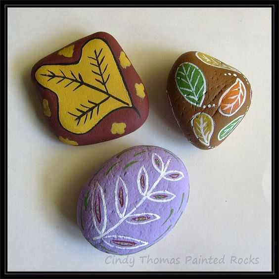 Fall Themed Painted Rocks - Leaves