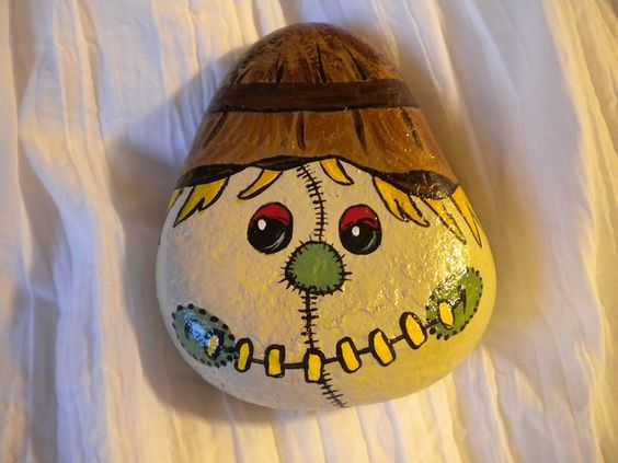 Fall Painted Rocks - Scarecrow Head