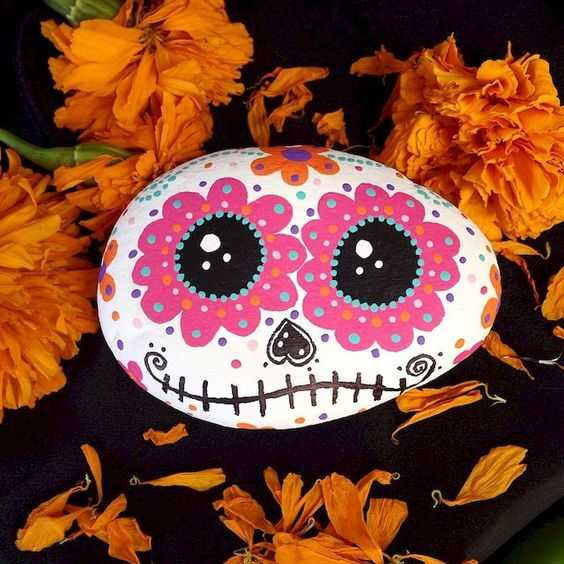 Autumn Rock Painting Ideas - Pumpkin With Floral Decorations