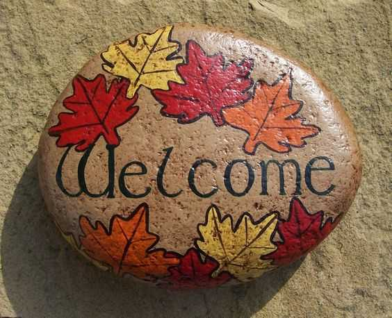 Fall Painted Rock - Welcome Rock Decorated With Red Yellow And Orange Maple Leaves