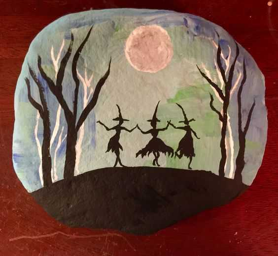 Halloween Painted Rock Ideas - 3 Witches Dancing Under Full Moon