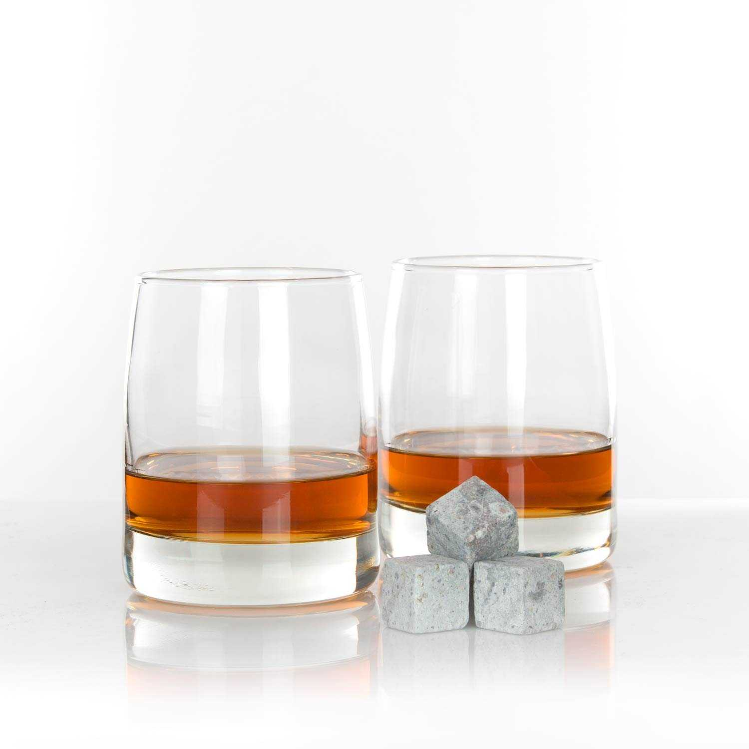 two whiskey glasses after being decanted