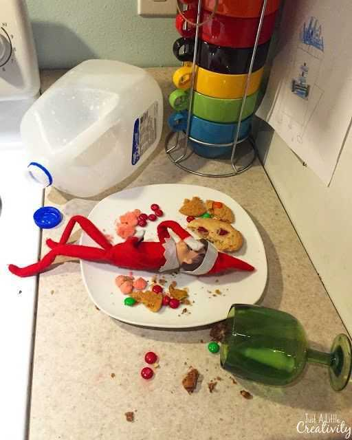 elf on a shelf - drunk on milk and cookies