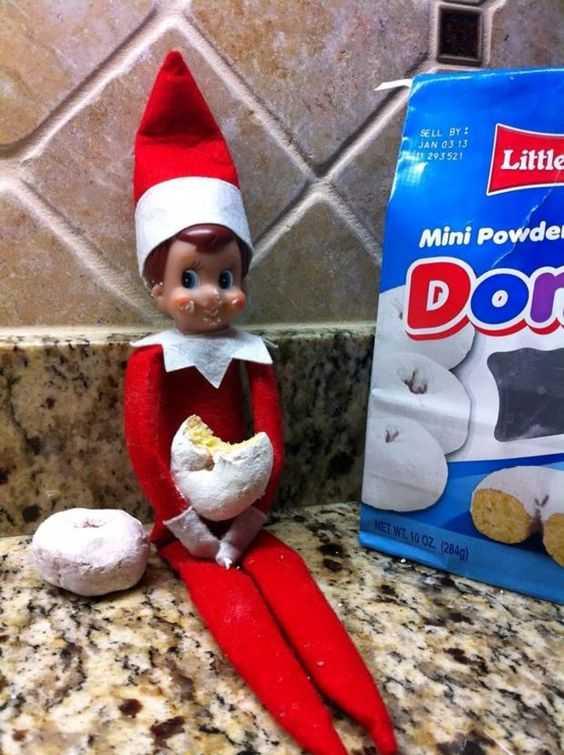elf on a shelf - stealing donuts