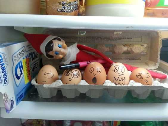 elf on a shelf - vandalizing the eggs