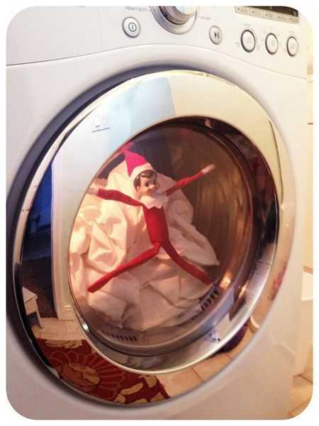 elf on a shelf - in the dryer