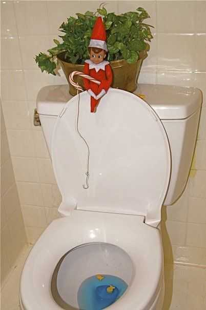 elf on a shelf bathroom - fishing in the toilet