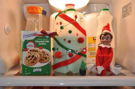 elf on a shelf kitchen - decorated milk