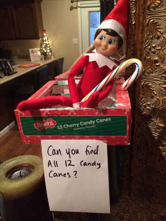 elf on a shelf kitchen - hiding candy canes