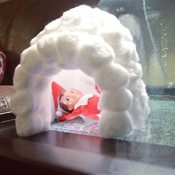 elf on a shelf kitchen - cotton ball igloo
