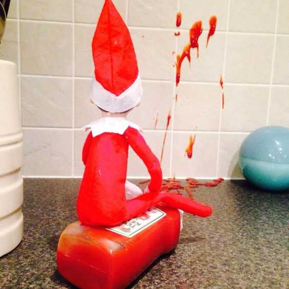 elf on a shelf kitchen - ketchup vandalism