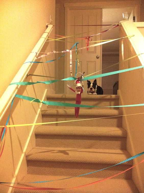 Elf On the Shelf - setting up a ribbon obstacle course