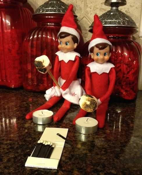 Elf On the Shelf - roasting marshmallows on the candle